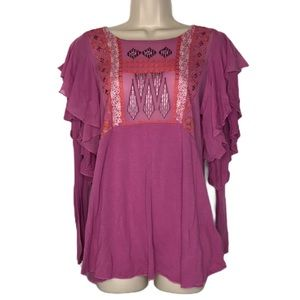 Free People Purple Embroidered Longsleeve Top M
